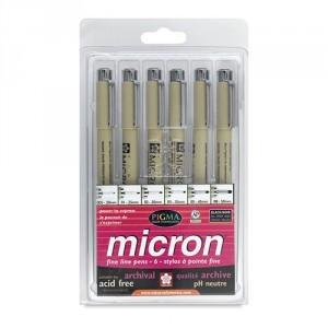 Set 6 rotuladores negros Pigma Micron Sakura (005, 01, 02, 03, 04 y 05)